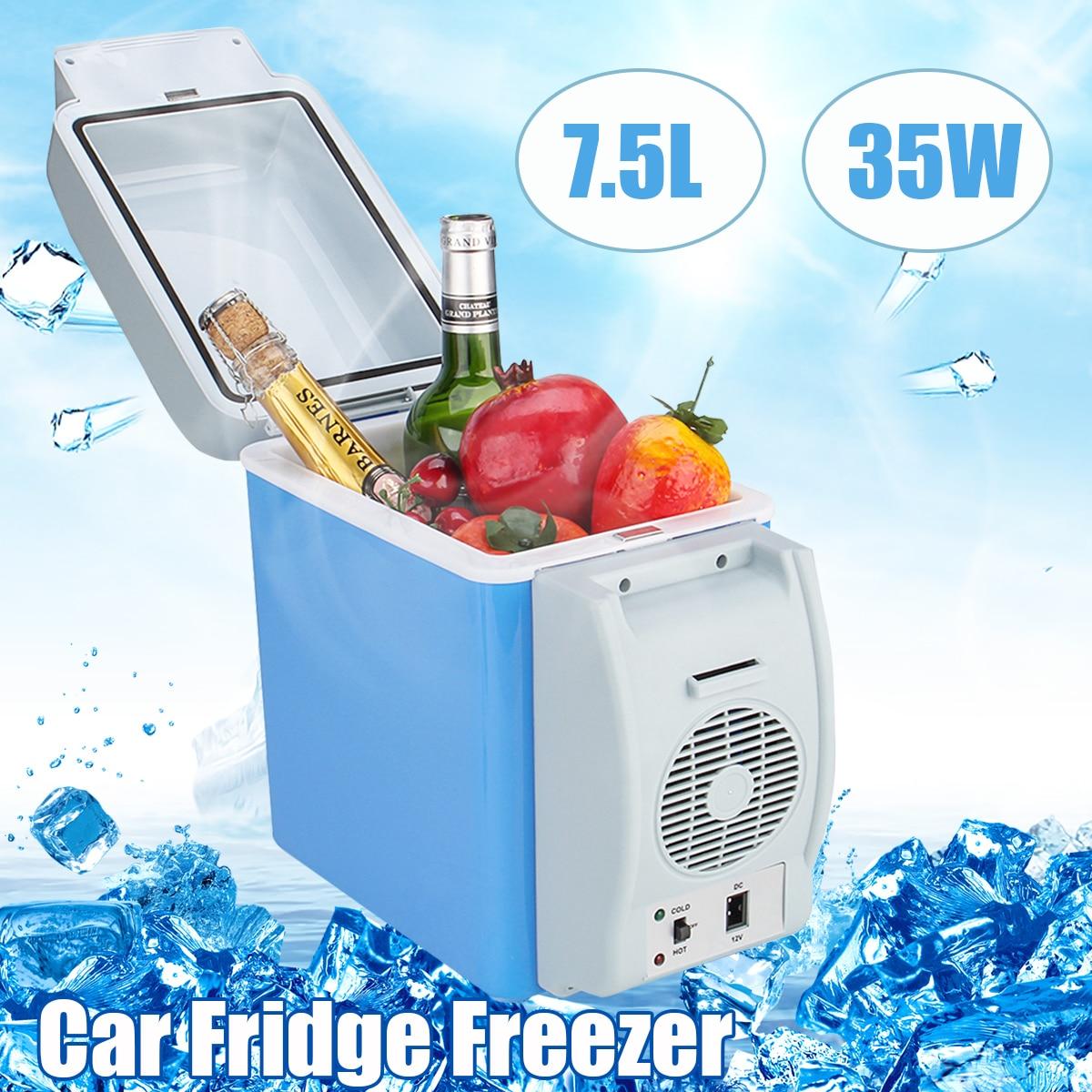 New 12V 7.5L 35W Mini Portable Car Refrigerator Cooler Freezer Car Fridge Freezer Cooler Warmer 2 Modes Box Fridge Travel Boat