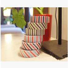 2Pcs New Cute England Style Cartoon Multifunction Vertical Stripes Twill Fabric Tape Diy Decorative Stickers Tapes