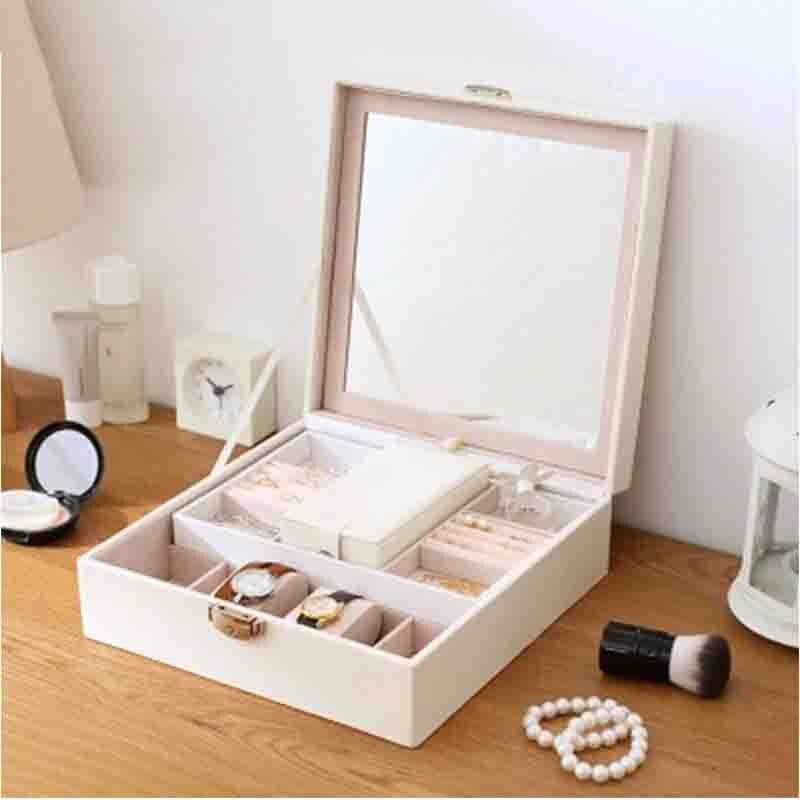 Double couche en cuir boîte à bijoux avec miroir cosmétique bijoux organisateur montre boîte de rangement cercueil conteneur bureau boîtier de serrure