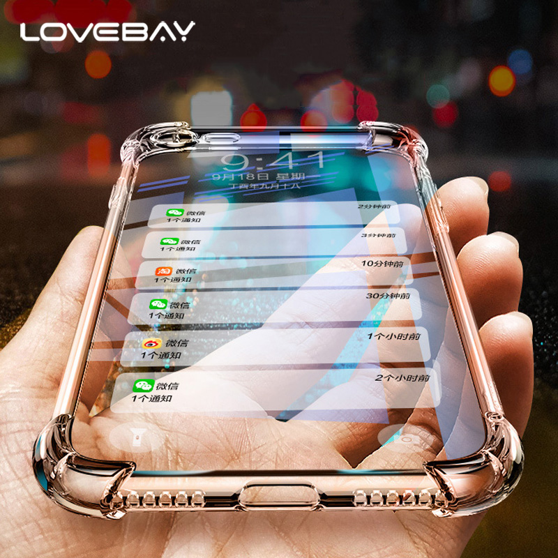 Lovebay Phone Case For Iphone 6 6S 7 8 Plus X 5 5S SE Fashion Airbag Shockproof Design Transparent Soft TPU For Iphone 8 Cover
