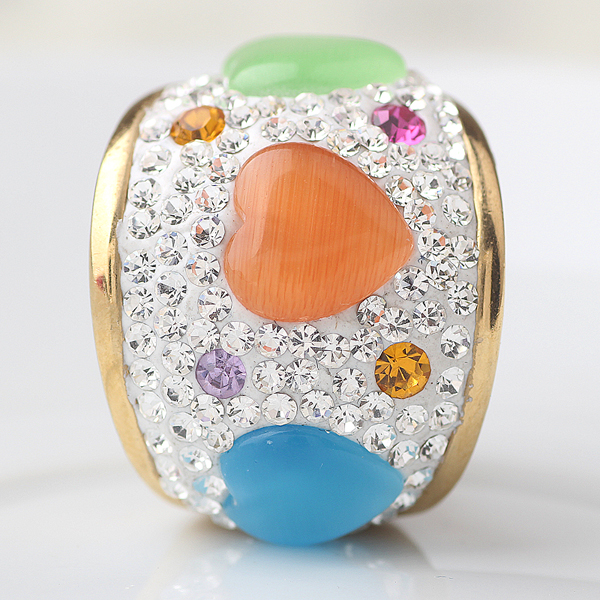 Romantic Multicolor Crystal Stainless Steel Gold engagement Rings for women