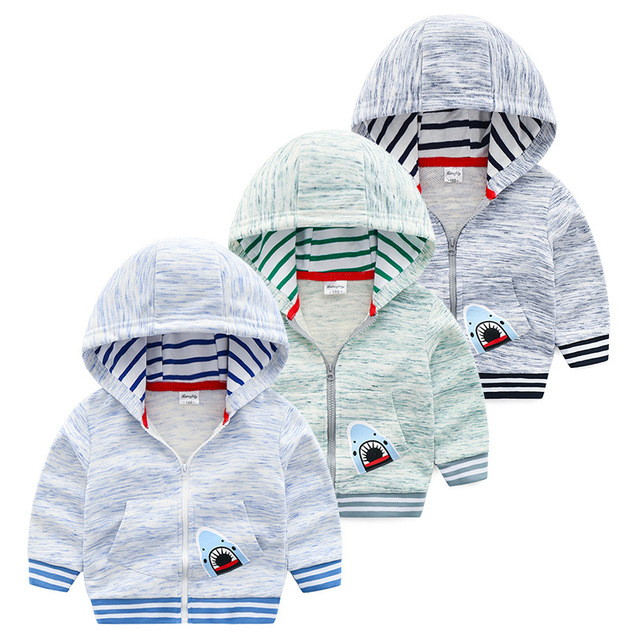 Baby Boys  Pocket Jacket Coat Outerwear Casual Print Shark Internal layer grid Comfortable Breathable Spring Autumn Hoodies