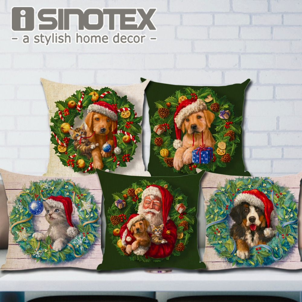 Новогоднее украшение Чехол на подушку Собаки и кошки Подушка Симпатичные декоративные подушки Хлопковое льняное дерево Санта-Клаус