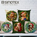 Christmas Decoration Cushion Cover Dogs and Cats Pillow Cute Throw Pillows Cotton Linen Tree Santa Claus New Year Gift