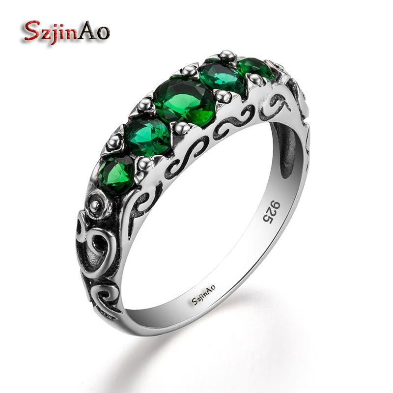 Szjinao wholesale 925 sterling silver Rings For Women Punk Cocktail PatternVintage Style Green Emerald Engagement jewelry szjinao custom processing exquisite luxurious rose gold color emerald rings for women wholesale christmas gift wholesale