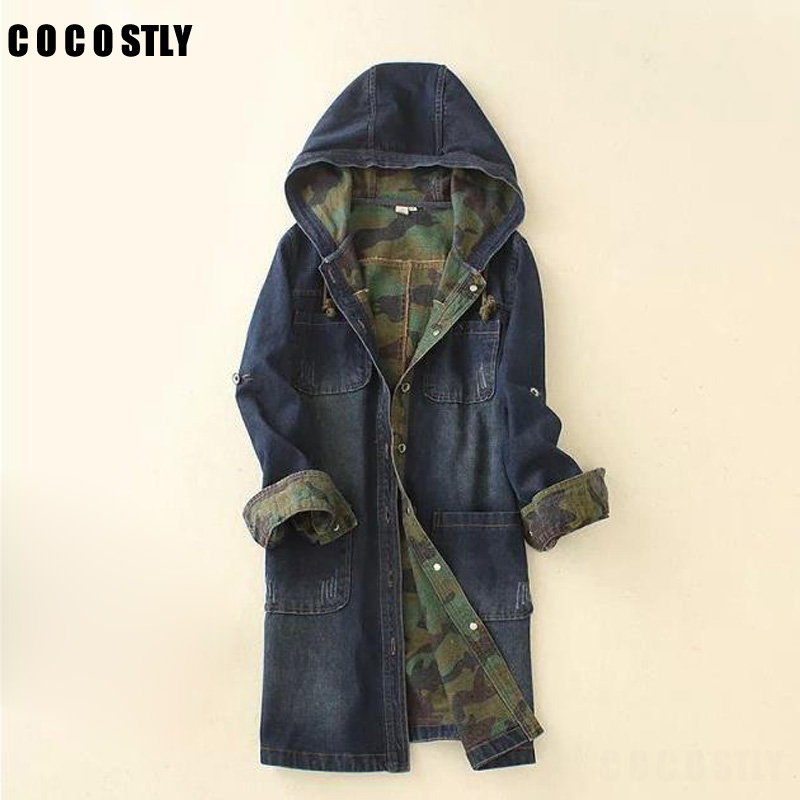 Korean BF Style Demin   Trench   Coat For Womans Coat Long sleeved Jean Casual Camouflage Female Slim Fit Coats Windbreak