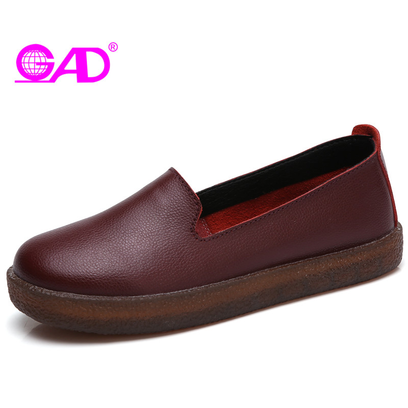 GAD High Quality Split Leather Women Loafers 2017 Retro Style Round Toe Slip-on Women Comfortable Loafers Solid Flat Shoes Women 2017 shoes women med heels tassel slip on women pumps solid round toe high quality loafers preppy style lady casual shoes 17