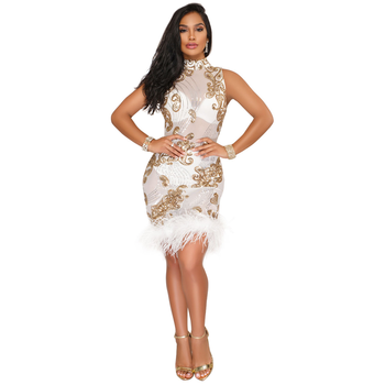 U-SWEAR Women Sequin Dresses Halter Backless Hollow Out Party Night Club Dress Sexy See Through Bodycon Mesh Dresses Vestidos