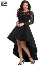 ZKess Women Sexy Sheer Lace High Low Satin Ball Gown Dress Long Sleeve O Neck High-low Taffeta Club Part Maxi Dress LC61910 все цены