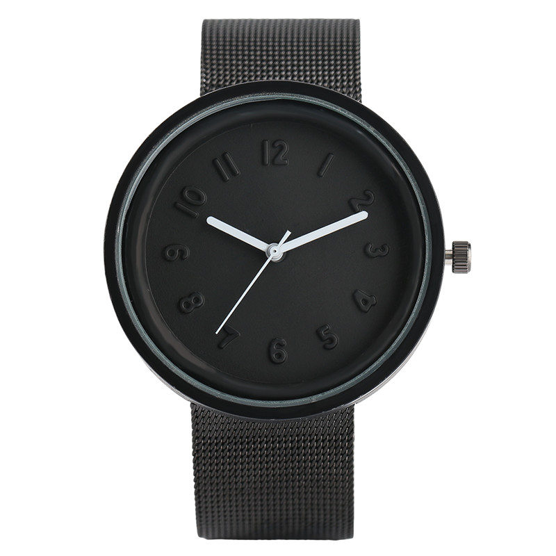 Men's Watch White Pointer Round Dial Clock Women Luxury Full Black Stainless Mesh Band Minimalist Wristwatch Casual Unisex Gifts ultra luxury 2 3 5 modes german motor watch winder white color wooden black pu leater inside automatic watch winder