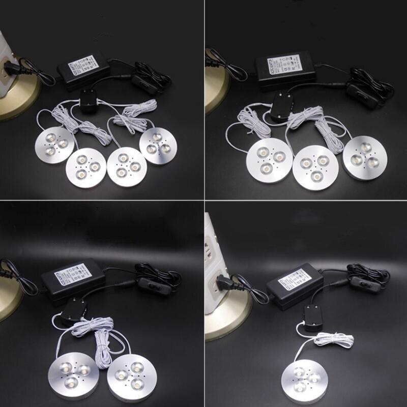 6 шт. x 3 Вт/комплект светодиодный свет Puck светодиодный светильники белый/серебристый светодиодный шайба света для под кухонные шкафы дом сче...