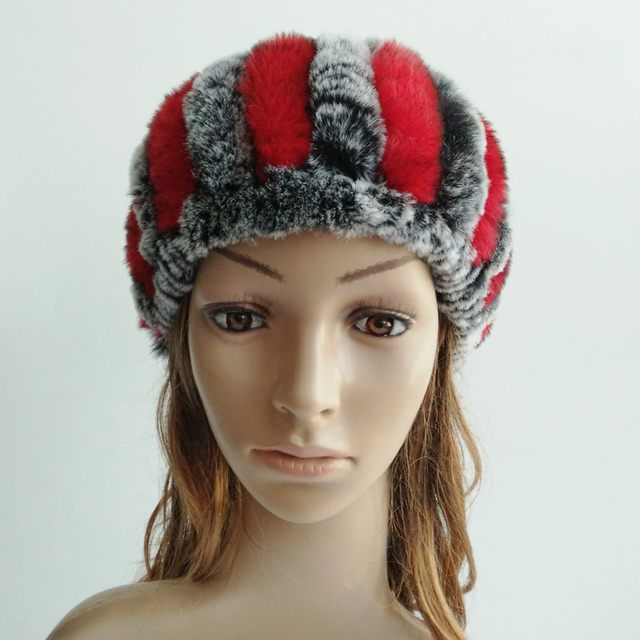 Nuevo de Punto Real de Piel de Conejo Bufanda Sombrero Hairband Dos Funciones Causal de la Mujer Cap Gorros de Invierno Cálido Accesorios
