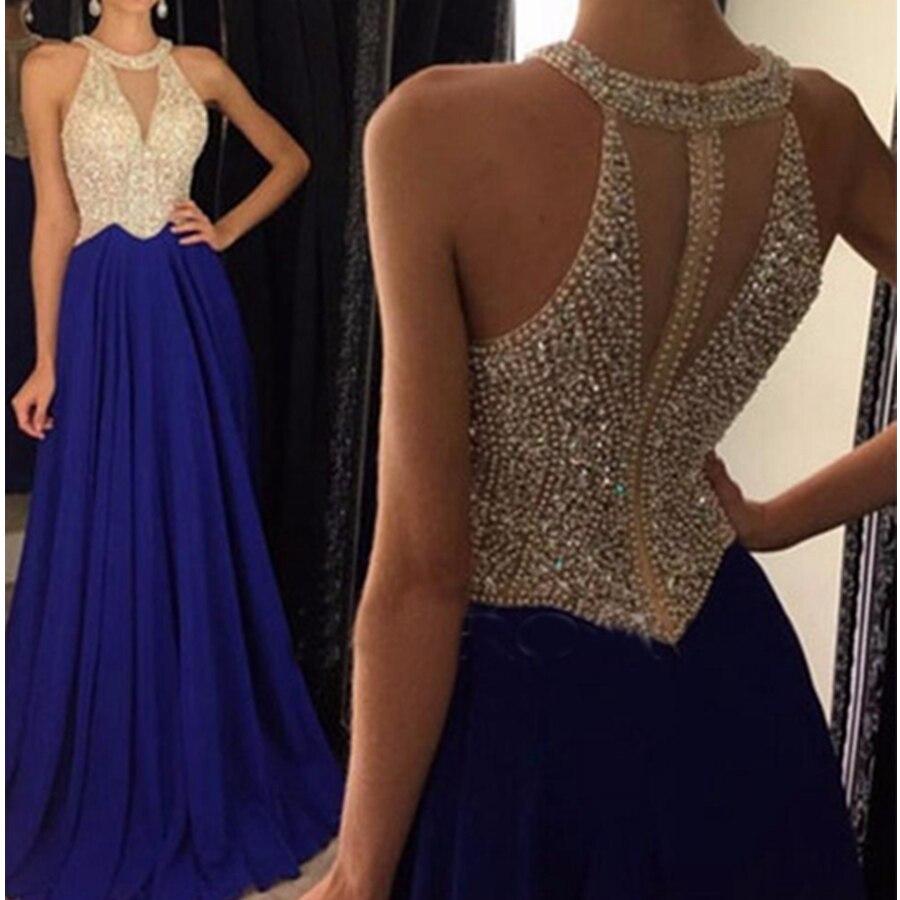 2019 cristal bleu marine robes de bal Sexy transparent Corset longue fête dos nu robe de bal avec perles robes formelles