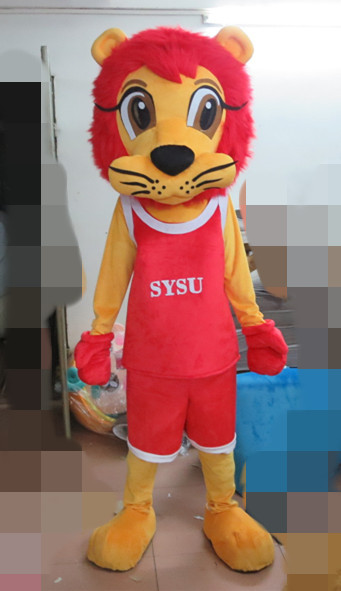 the most popular red hair lion mascot costume green suit POLE STAR MASCOT COSTUMES