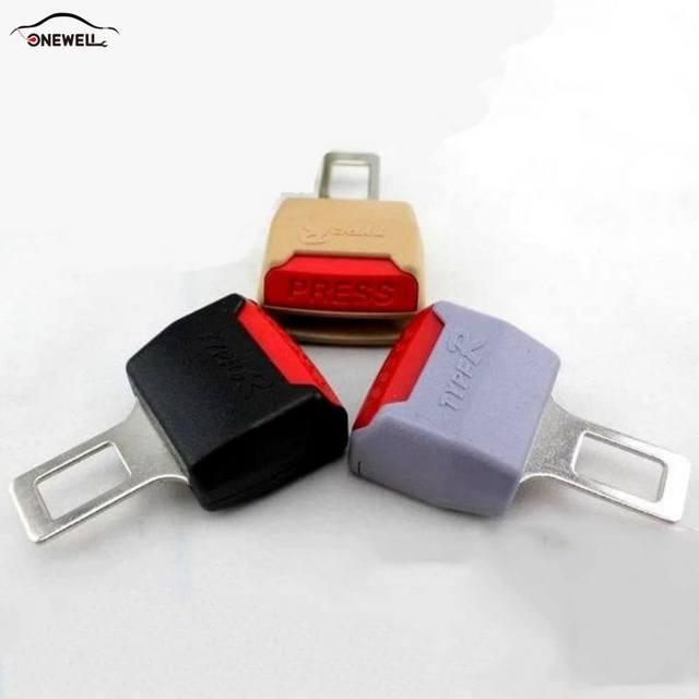 ONEWELL Universal clip para cinturón de seguridad de coche Extender cinturones de seguridad macho grueso inserto hembra negro/Beige
