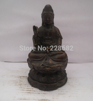 Metal Crafts Home Decoration Crafts Chinese old copper/bronze carved Guanyin Bodhisattva Figurine/ Buddha Statue
