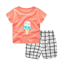 New Summer Baby Girls Clothing Sets Baby Girl Clothes Infant Cartoon Costume T-shirt Suit Baby Outfit Newborn Baby Boy Clothes cheap Unini-yun Fashion COTTON Worsted Short O-Neck Pullover REGULAR Coat Fits true to size take your normal size