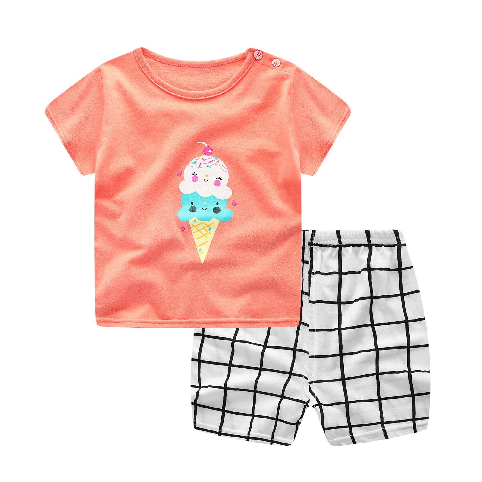 New Summer Baby Girls Clothing Sets Baby Girl Clothes Infant Cartoon Costume T-shirt Suit  Baby Outfit Newborn Baby Boy Clothes