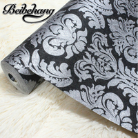Wallpaper Vintage Luxury Black Damask On Silver Textured Embossed Wallpaper Embossed Shining Sand PVC Tapete For