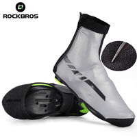 ROCKBROS Waterproof Sports Shoes Cover Reflective Thermal MTB Cycling Road Bike Windproof Overshoes Lycra Fabric Bike