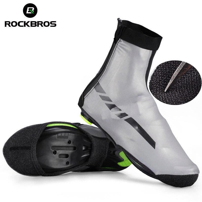 ROCKBROS los impermeable de los deportes de cubierta de zapatos térmico reflectivo MTB ciclismo bicicleta de carretera a prueba de viento chanclos tela de Lycra bicicleta cubierta del zapato