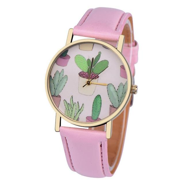Timezone #301 Simple women's watch cactus potted mirror leather strap analog qua