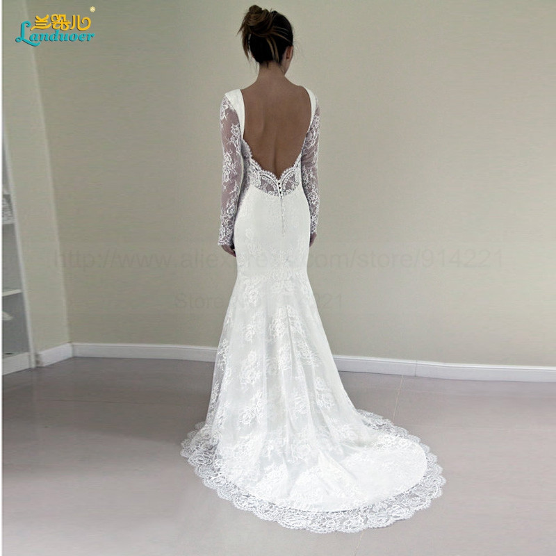 Sexy-Lace-Mermaid-Wedding-Dress-With-Long-Sleeves-New-Arrival-Fashion-Backless-Court-Train-Elegant-Bridal50