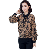 Women Blouses Shirts 2019 New Spring Long Sleeve Peter Pan Collar Print Women Blouse Tops Plus Size 5XL Ruffled Leopard Shirt