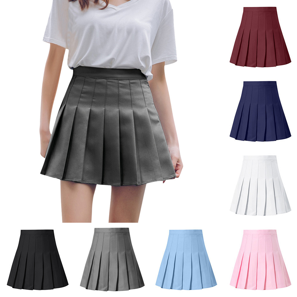 Women's Fashion High Waist Pleated   Skirt Slim Waist Casual Tennis Skirt Skirt Women Cute Sweet Girls Dance Skirt Юбка Skirt