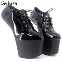 Sorbern Bdsm Extreme High Heel Strange Hoof Heelless Sexy Shoes Lace Up More Colors Patent Unisex Platform Shoes Plus Size 47