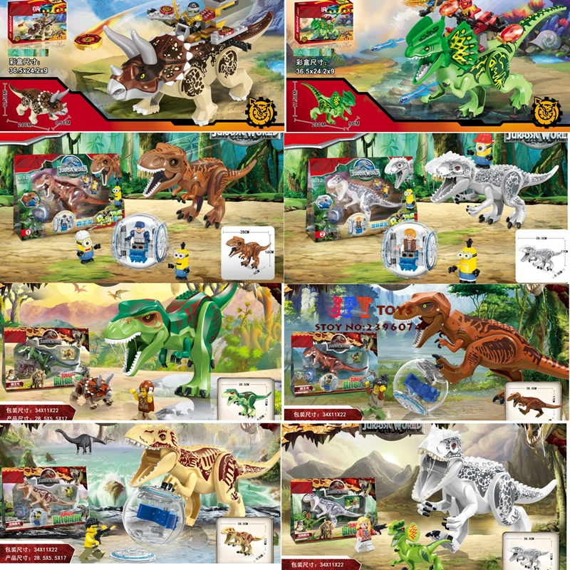 1/ Jurassic World Tyrannosaurus Building Blocks Jurrassic Dinosaur s house games Ninja bricks toys for children speelgoed 2 sets jurassic world tyrannosaurus building blocks jurrassic dinosaur figures bricks compatible legoinglys zoo toy for kids
