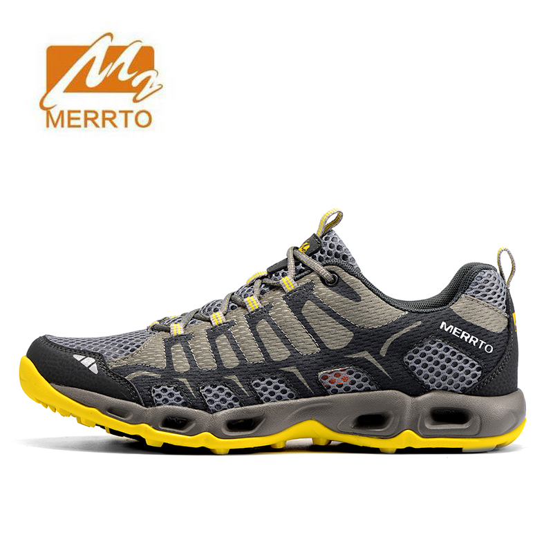 MERRTO Mens Summer Sports Outdoor Trekking Hiking Sneakers Shoes For Men Sport Climbing Mountain Shoes Man Senderismo merrto men s sports leather outdoor hiking trekking shoes sneakers for men wearable climbing mountain shoes man senderismo