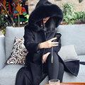 Nuevas mujeres Abrigo de Lana del Otoño y el Invierno 2016 de La Moda Medio-largo Cuello de Piel Suelta Cintura Ajustable Delgada Sólida Abrigo de lana Femenino