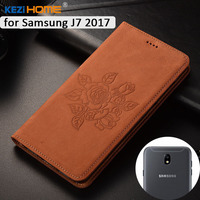 For Samsung Galaxy J730 J730F Case KEZiHOME Matte Genuine Leather Flower Printing Flip Stand Leather Cover
