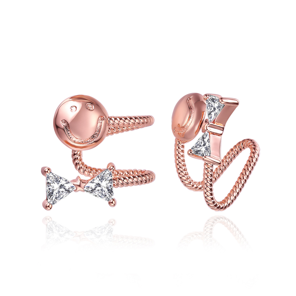Girls Rose Gold/Silver colours Ear Studs Smiling Face Expression Hoop Earrings For Women Jewelry E545