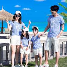 father mother son outfits summer love heart print blue striped t shirt family sets white casual loose shorts for girls boys gift