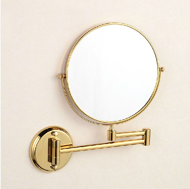 Bath Mirrors 8 Inch Dual Golden Mirrors 1x3 Magnifier Copper Cosmetic Bathroom Double Faced Wall Mounted Make Up Mirror 1308A bakala dual makeup mirrors 1 1 and 1 3 magnifier copper cosmetic bathroom double faced bath mirror wall mirror br 6738