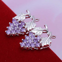 purple bead earrings top quality Silver Plated & Stamped 925 lady nice gift jewelry body jewelry wholesales retail jewelry