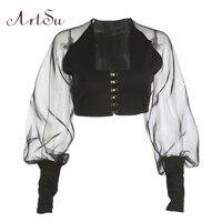 ArtSu Fashion Mesh Patchwork Women T Shirt Sexy Crop Top Autumn Winter Lantern Sleeve T Shirt