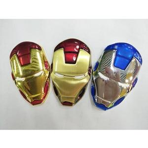 Image 2 - 6x3.8cm New 3D Chrome Metal Iron Man Car Emblem Stickers Decoration The Avengers Car Styling Decals Exterior Accessories