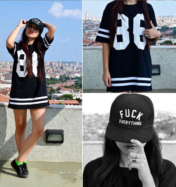 f3be63b648d96 Fashion 2014 Women Celebrity Oversized 86 American Baseball Tee T-shirt Top  Varsity Short Sleeve Loose Black Size S - XXL