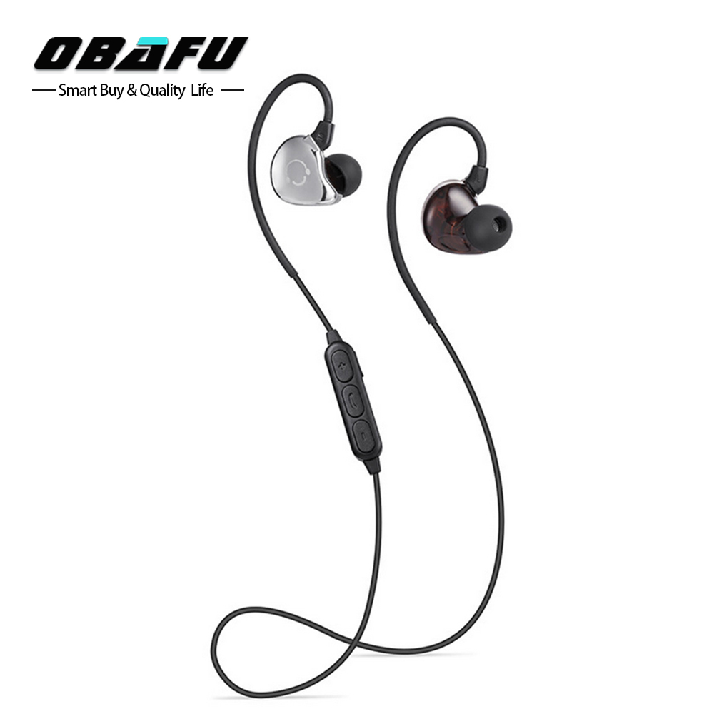 Obafu Bluetooth Earphone Sports Running Wireless Headphones Ear Hook Stereo Earbuds Bass Headset with Mic for Xiaomi for iPhone