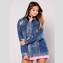 Sexy Hole Denim Jackets Women Boyfriend Style Long Sleeve Vintage Jean jacket Denim Loose Casual Autumn Denim Coat bomber jacket цена и фото
