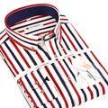 2016 Nueva Raya de Los Hombres Chemise Homme Camisas Moda Casual Diseñador de la Marca Clásica Camisa Masculina Camisas T0065
