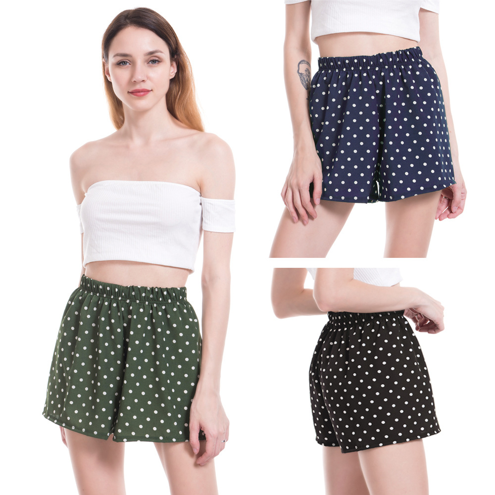 Elastic Shorts For Women 2019 Woman Shorts Casual Sexy Chiffon Polka Dot Shorts Beach Black Green Pantalones Cortos Chorte Femme