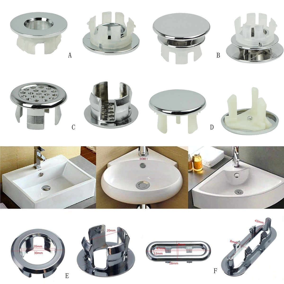 6 Basin Sink Round Overflow Cover Ring Insert Replacement Tidy Chrome Trim Bathroom Accessories #F