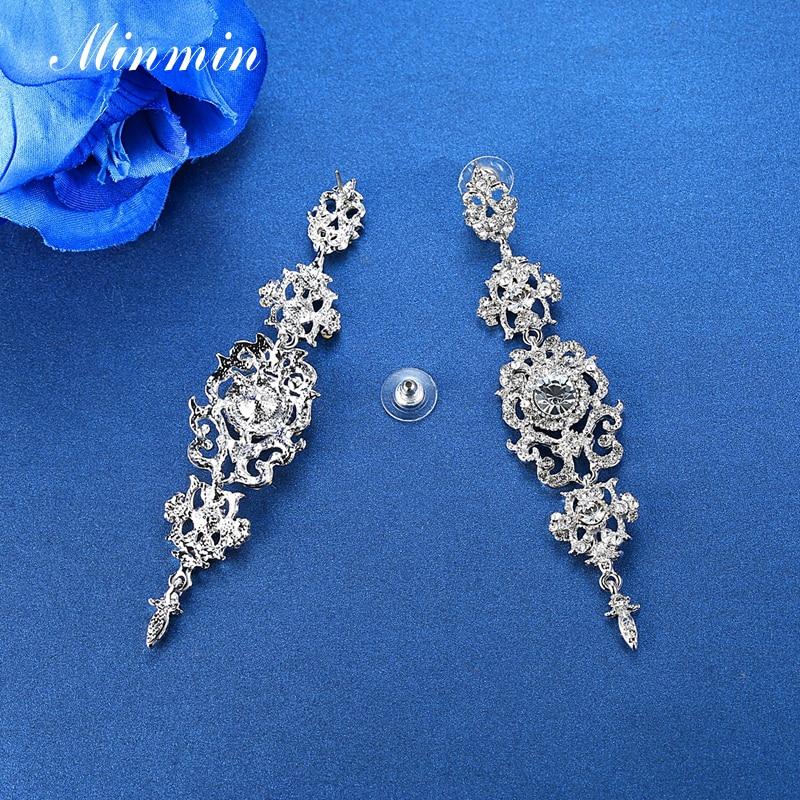 Minmin kolor srebrny Kryształowy żyrandol Ślubne długie kolczyki - Modna biżuteria - Zdjęcie 6