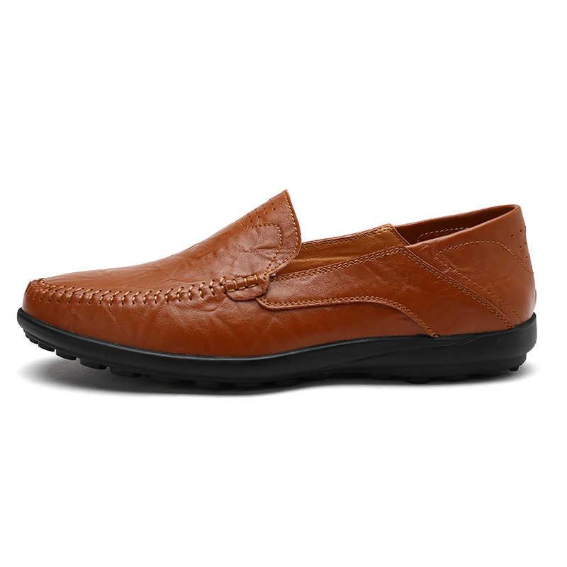 รองเท้าทำด้วยมือหนัง Moccasin สีดำรองเท้าสบายๆรองเท้าผ้าใบคุณภาพสูงรองเท้าผู้ชาย 2019 ขนาดใหญ่