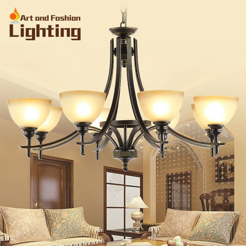 Large 8 lights iron chandelier retro wrought iron material and frosted  glass light shade in rustic