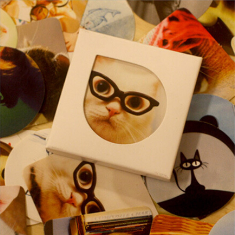 38Pcs/Pack DIDA DIDA Cat Glasses Cute Kawaii DIY Memo Label Sticker Diary Stickers Home Scrapbooking Decoration K7408